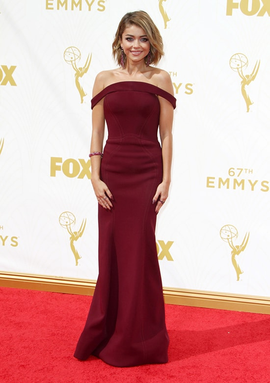 Sarah Hyland in Zac Posen at the 2015 Emmy Awards