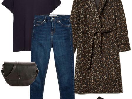 Sarah Hyland Outfit: black t-shirt, leopard print coat, dark wash skinny jeans, black mule flats, and a black saddle bag