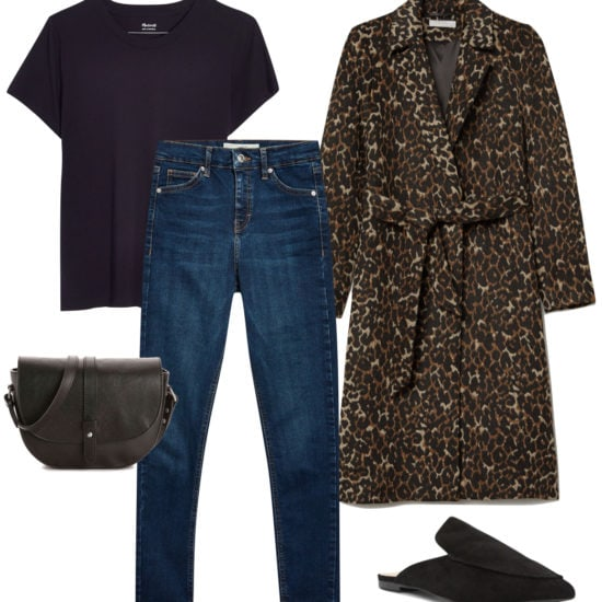 Sarah Hyland Outfit: black t-shirt, leopard print coat, dark wash skinny jeans, black mule flats, and a black saddle bag