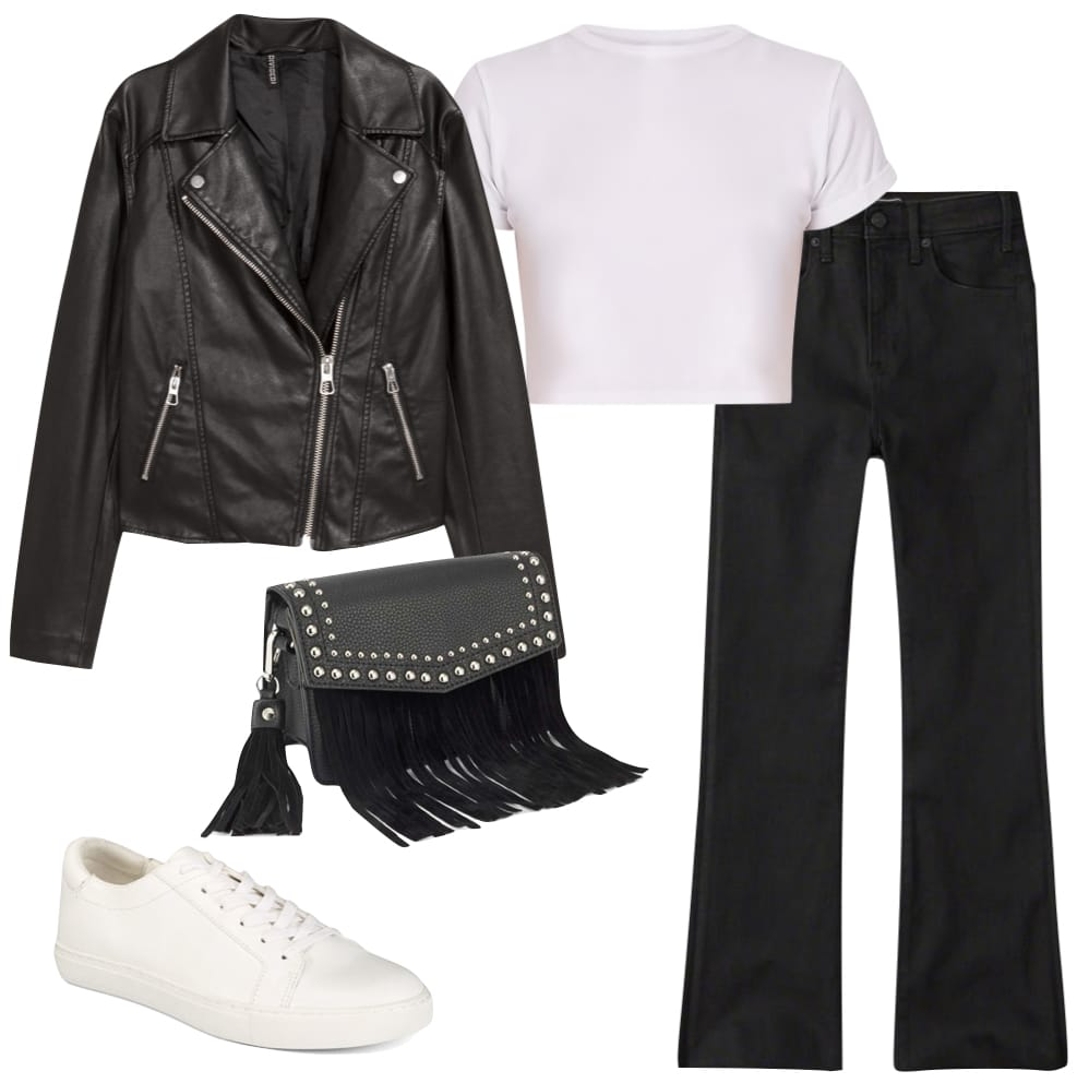 Sarah Jeffrey Outfit: black faux leather moto jacket, white cropped t-shirt, black ankle flare jeans, white low top sneakers, and a black studded fringe bag
