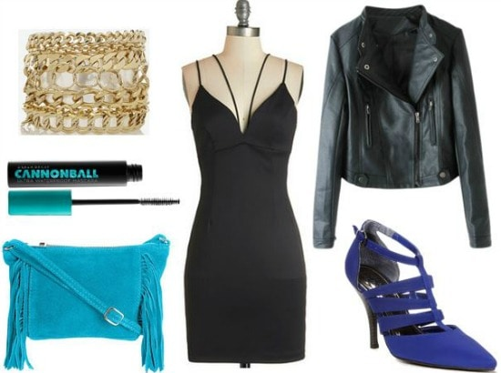LBD, leather jacket, pointy toe pumps