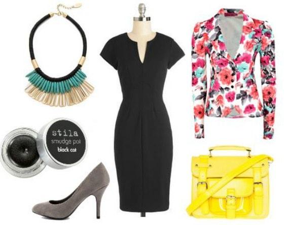 LBD, floral blazer, pumps