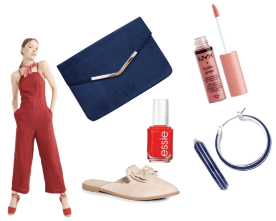 Outfit inspired by Sasha from Girls Trip: Red jumpsuit, navy blue envelope clutch, nude lip cream, blue earrings, beige mules