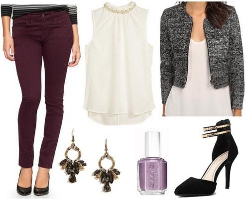Sateen pants, embellished blouse, tweed jacket, pumps