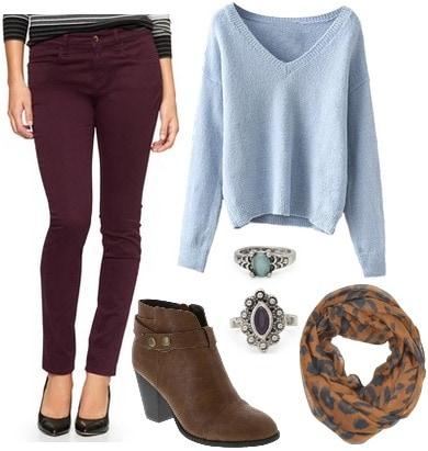 Sateen pants, light blue sweater, booties, scarf