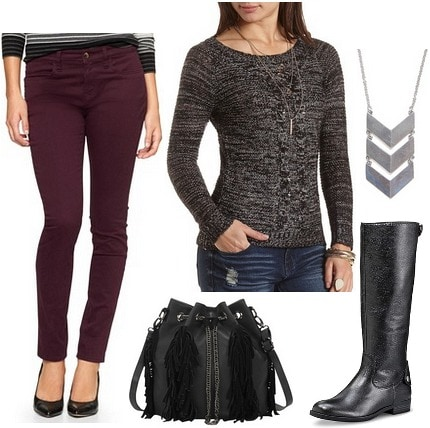 Sateen pants, sweater, and riding boots