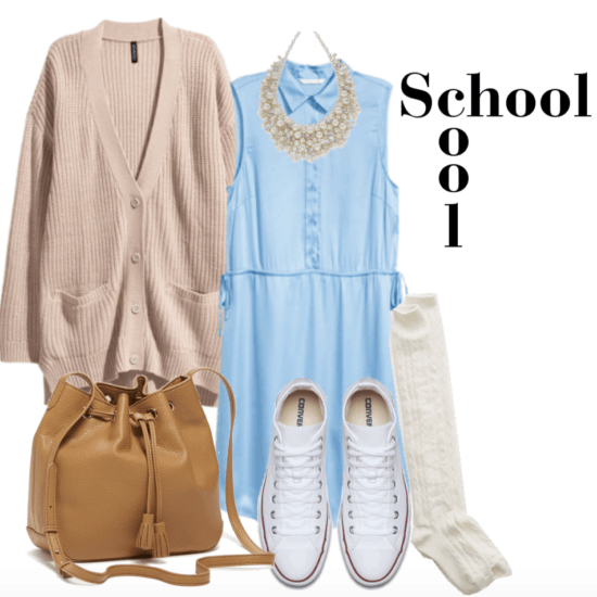 Outfit for class including light blue satin dress, oversized cardigan, tan bucket bag, knee high socks, converse and pearl necklace. Casual look.