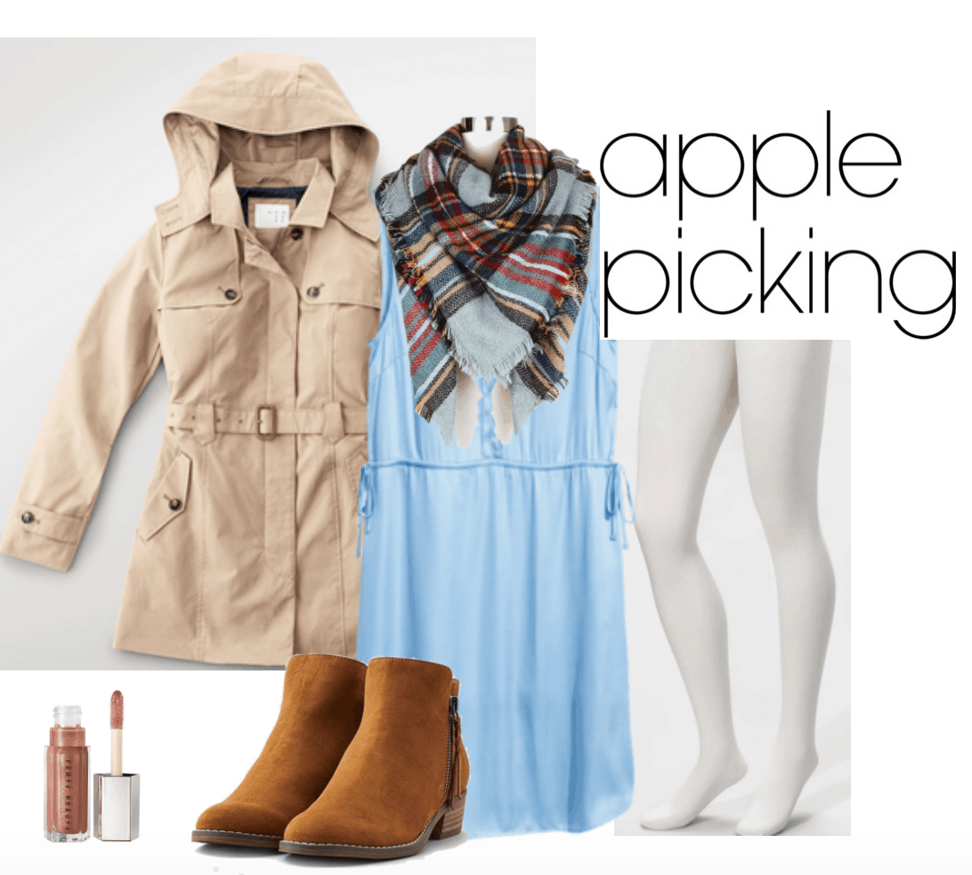Satin blue dress outfit 3 for apple picking. Includes plaid scarf, tan short trench coat, sheer tights, brown boots, Fenty lip luminizer