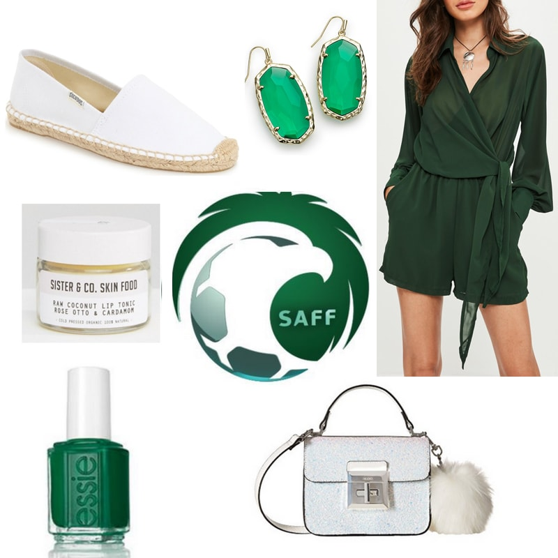 Saudi Arabia world cup inspired outfit: White espadrilles, green romper, green and gold earrings, green nail polish, white bag