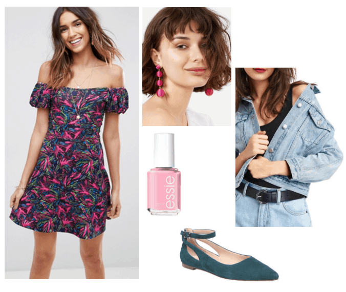 Outfit inspired by Essie's 90s nail polish collection: Saved by the Bell inspired look with off the shoulder dress, green ballet flats, pink statement earrings, oversized jean jacket