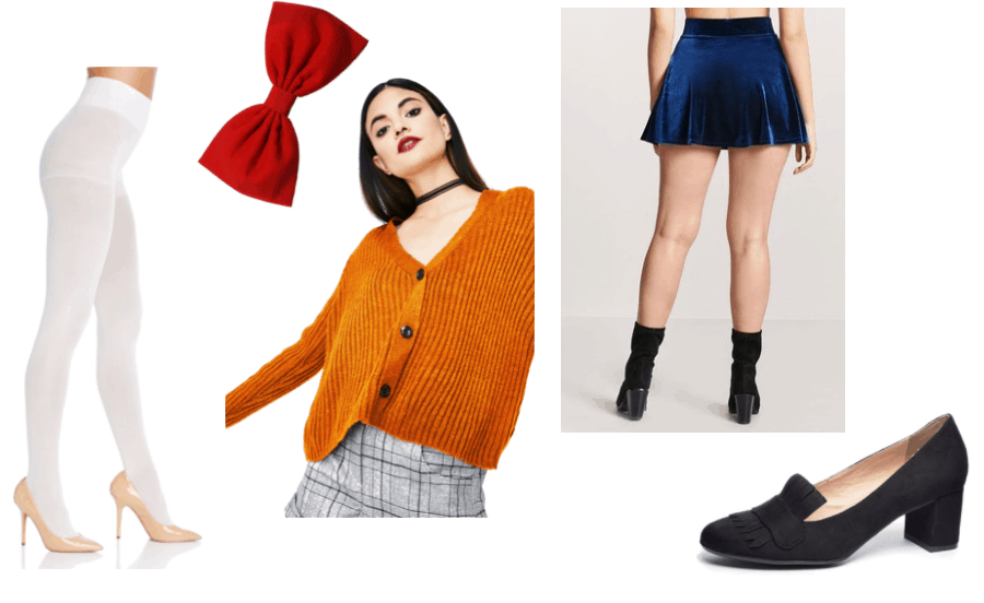 Doki Doki Literature Club Sayori Outfit Inspiration: Blue Velvet Skirt, Orange Button-Up Cardigan, White Tights, Red Bow and Suede Loafer Heels
