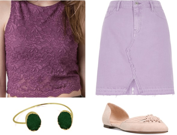Scooby-Doo Daphne Inspired Outfit | Purple lace crop top light purple denim skirt green cuff nude d'Orsay flats
