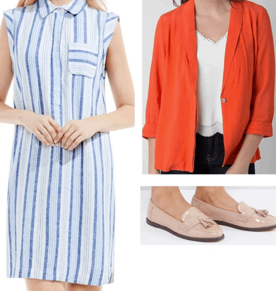 Fred Scooby-Doo Inspired Outfit | Blue shirtdress orange blazer nude loafers