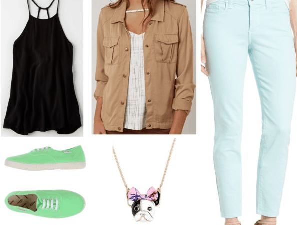 Scooby-Doo Scooby Inspired Outfit | Black tank top khaki jacket aqua jeans light green sneakers enamel dog necklace