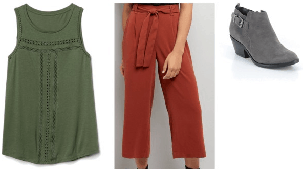 Scooby-Doo Shaggy Inspired Outfit | Green tank top brown trousers grey booties