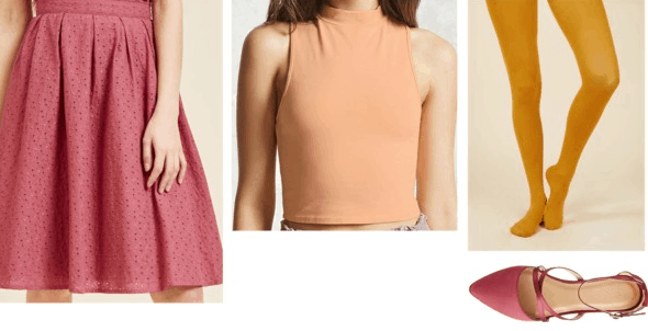 Scooby-Doo Velma Inspired Outfit | Orange mock turtleneck crop top red pleated skirt mustard yellow tights red strappy flats
