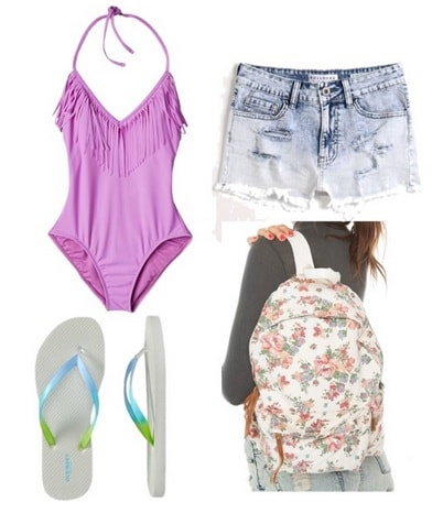 Outfits under $100: purple one piece, denim shots, floral backpack