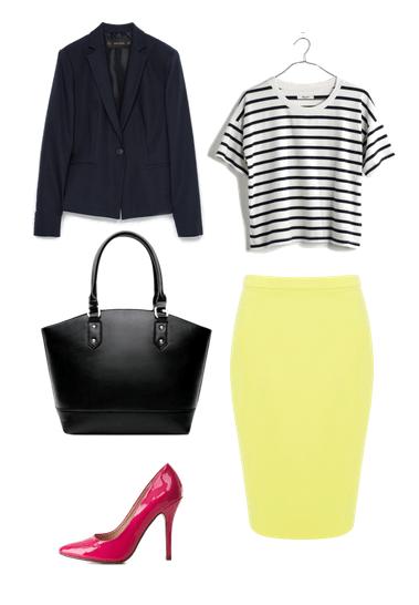 stripe tee, blazer, yellow pencil skirt