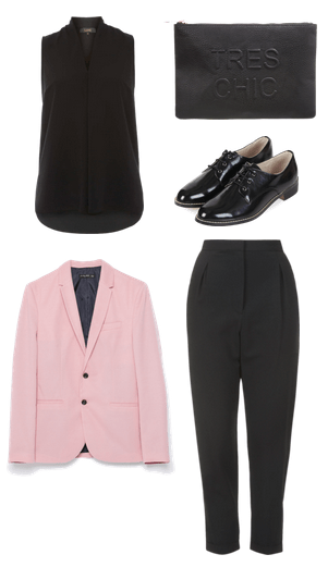 menswear inspired inter look with pink blazer
