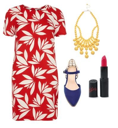 tropical print dress and flats