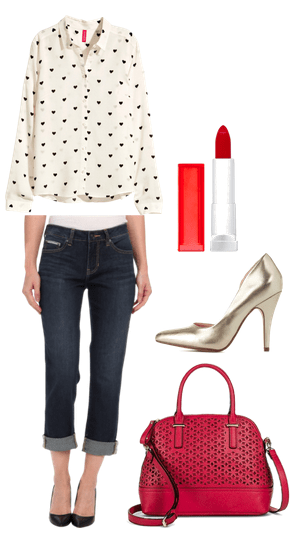 printed blouse, jeans, and pumps