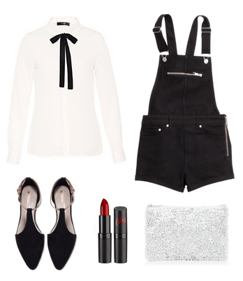 black and white short overalls look
