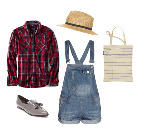overall shorts and flannel shirt