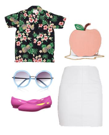 hawaiian shirt, white skirt, flats