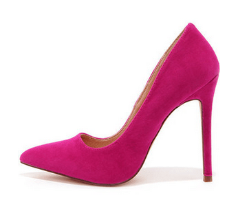 hot pink pointy pumps