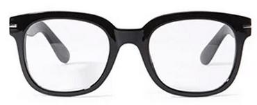 black lens rimmed glasses