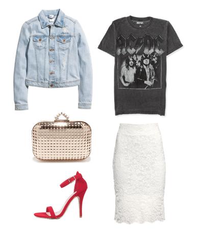 band tee, lace skirt, denim jacket