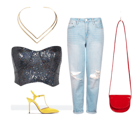 sequinned top and boyfriend jeans