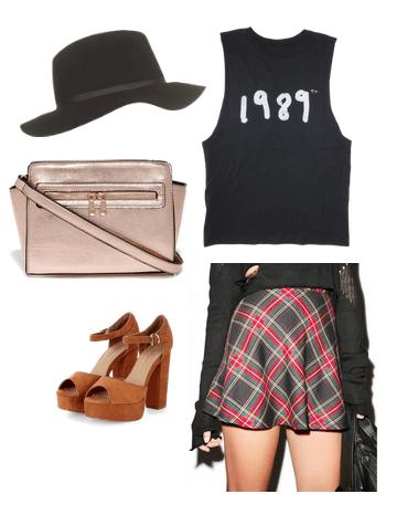 band tee, plaid skirt, platforms