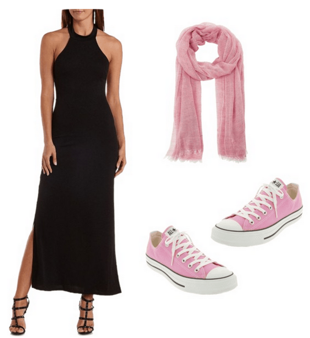 edgy look with a combination of a dress and sneakers