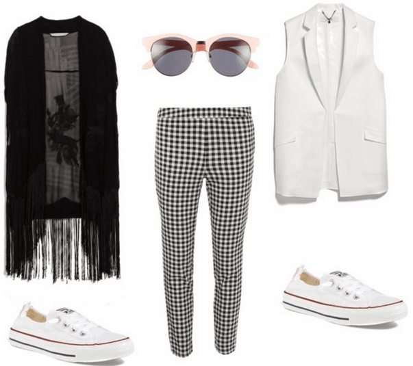black and white ensemble with some color