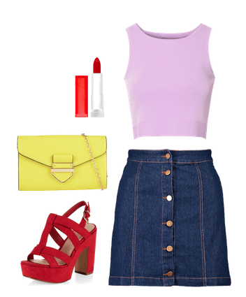 denim button-front skirt and crop top