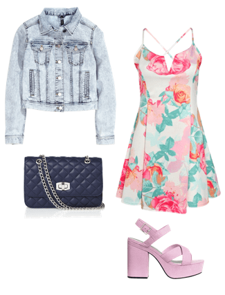 floral dress, platform heels and denim jacket