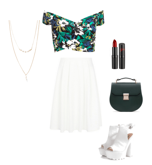off-shoulder top and midi skirt