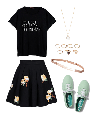 floral skirt and mint keds