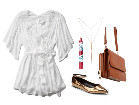white romper and gold flats