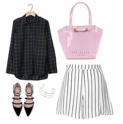 windowpane flannel and striped shorts