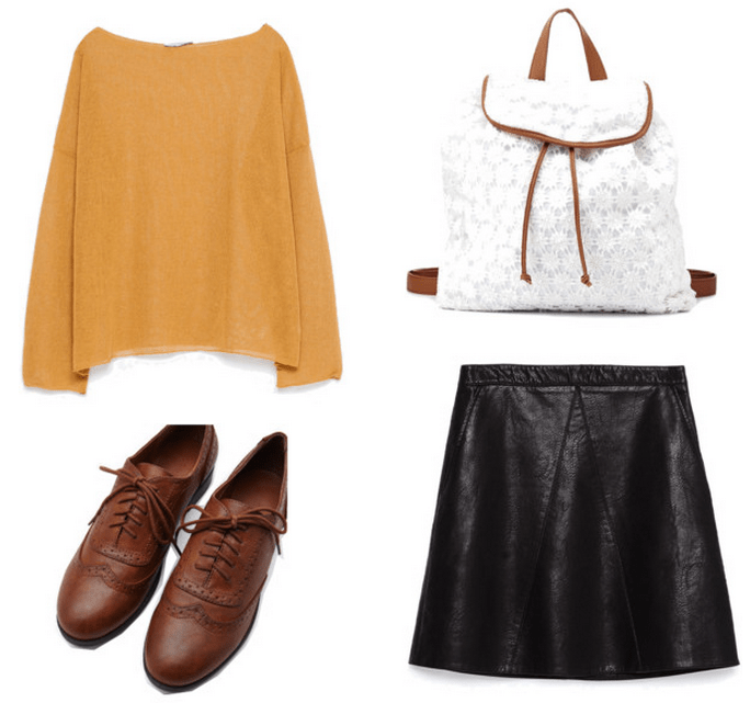sweater, faux leather skirt, oxfords