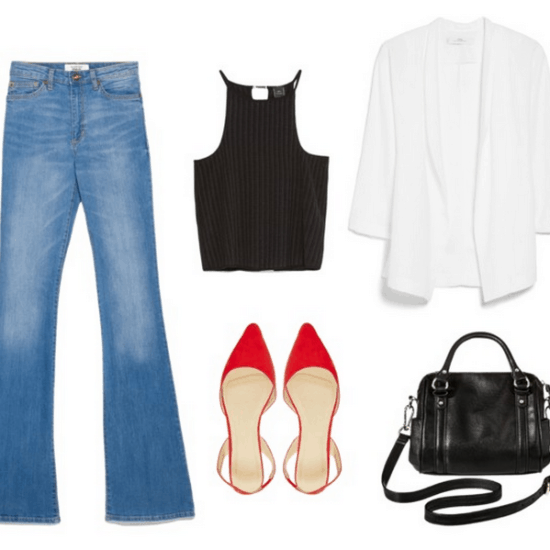 flare jeans, black top, white blazer