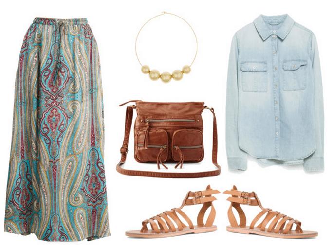 denim shirt, maxi skirt, gladiator sandals