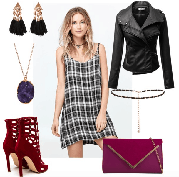 plaid dress night out outfit 2