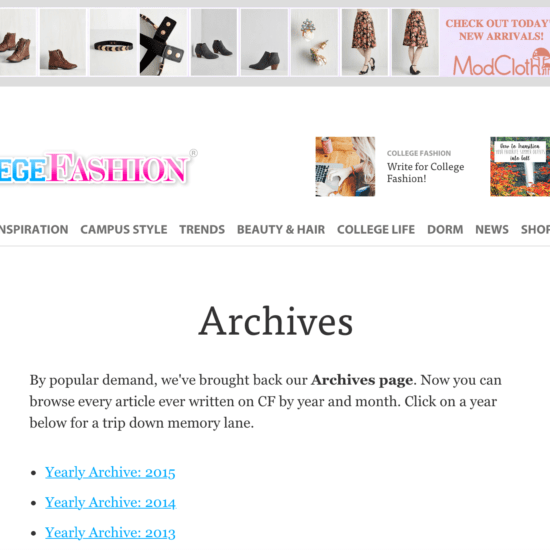 College Fashion monthly archive page