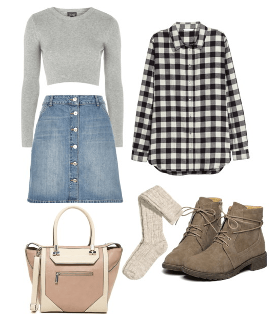 Ribbed Sweater and Denim Skirt Set