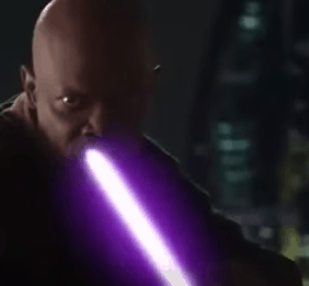 Mace Windu with his lightsaber