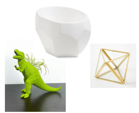 Dinosaur, white and gold planters.