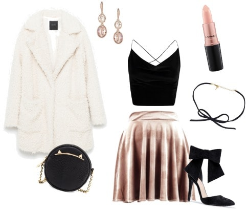 polyvore class to night out set: faux fur outerwear night out
